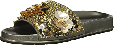Kenneth Cole New York 女式 Xenia 装饰泳池拖鞋 Silver/Gold 6 M US