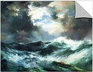 "ArtWall 1tmo001a3648p Thomas tMoran's ""Moonlit Shipwreck At Sea 1901"" Removable Wall Art Mural, 36"" x 48"""