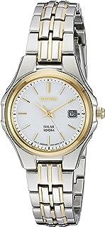 Seiko 女式 SUT222 女式连衣裙 太阳能双色不锈钢手表