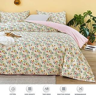 AYASW 羽绒被套 3 件套 纯棉 拉链封口 Cream Flower Pattern Queen 3 piece