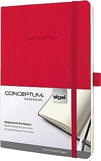Sigel conceptum系列 红色绑带软封面竖纹软封面商务笔记本A5方格横线