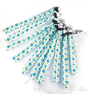 可重复使用的网眼产品袋手工制作(10 件套装) 白色花朵