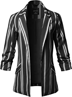 Awesome21 女式休闲柔软长袖前开襟图案薄夹克