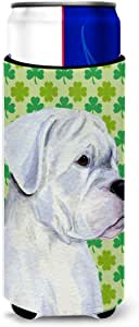 Boxer St. Patrick's Day Shamrock Portrait Michelob Ultra Koozies for slim cans SS4440MUK 多色 Slim