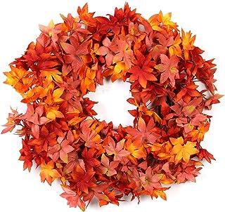 Molans 秋季花环 适用于前门 - 60.96 厘米手工秋季花环适用于感恩节万圣节秋季家居装饰带礼品盒(橙色#3)