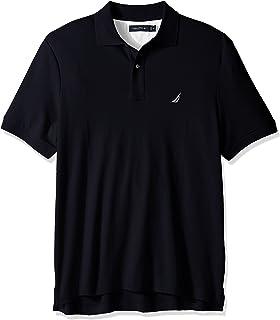 Nautica 男士经典柔软棉质纯色短袖Polo衫,海蓝色,Small