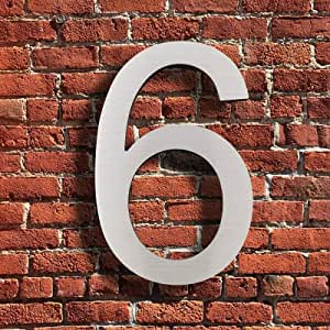现代房屋数字 - 15.24 厘米实心不锈钢街道地址号 - 优雅的浮动外观/易于安装,银色 银色