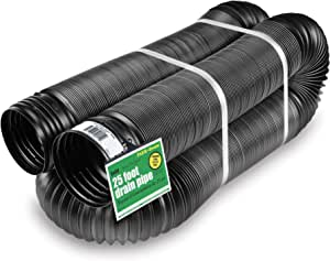 Flex-Drain 50710 灵活/可扩展 Landscaping 排水管,纯色 4-Inch by 25-Foot 黑色 50115