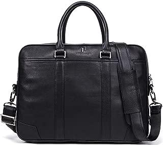 LeatherNLux 15.6 英寸复古软牛皮笔记本电脑手提包专业办公公文包男式单肩包