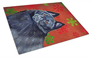 Caroline's Treasures Schipperke Red and Green Snowflakes Holiday Christmas Glass Cutting Board, Large, Multicolor