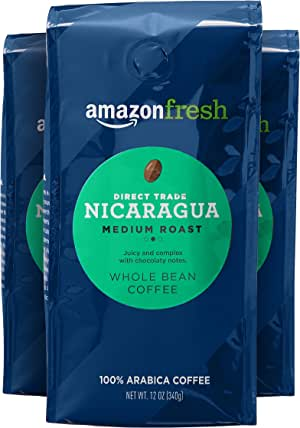 AmazonFresh 直接贸易尼加拉瓜全豆咖啡,中度烘培,12盎司(339.6克)(3件装)