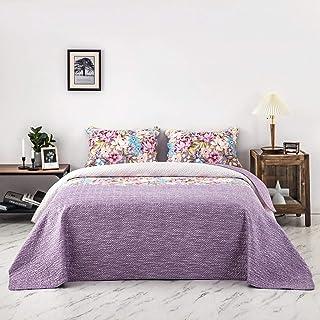 AYASW - 床罩套装 Pinsonic 印花 轻质床罩 2 个枕套 被单 双面(国王,图案 1)