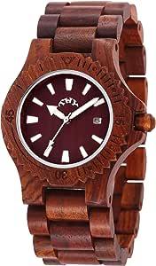 THY Fashion 男式红色圆形黑色表盘木质手表 40 Mm 尺码 W00007