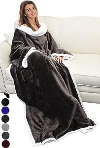 "Catalonia Sherpa 羊毛可穿戴式睡毯带袖和口袋,微绒保暖舒适袖型电视飞镖毛毯,成人男女皆宜,大号,182.88cm X 139.7cm 棕色 72""x55"" 1CTSN110BR"
