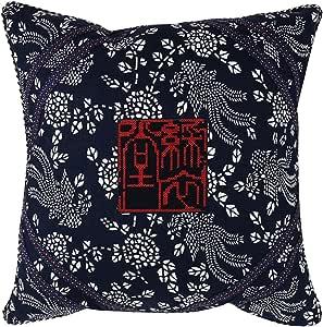 """Sterxy Calico""""刺绣凤凰""""垫套,混棉,*蓝,45.72 x 45.72 厘米"""