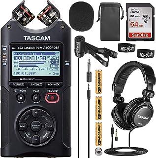 Tascam DR-40X 4 通道 4 轨便携式录音机套装,配备 VidPro 翻领麦克风,Tascam TH-02 工作室耳机,32GB 内存卡和 2 个电缆扎带
