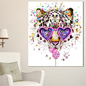 Design Art 趣味豹纹心形眼镜超大动物墙艺术