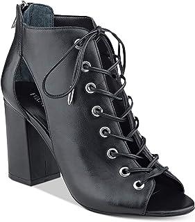 Ivanka Trump 女士 Rahela 皮革露趾短靴,黑色,尺码 9.5