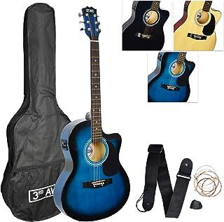 3rd Avenue 4/4 全尺寸切边电原声吉他套装,适合初学者,内置调谐器和均衡器