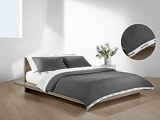 Calvin Klein 现代棉质经典标志羽绒被套装 Heathered Grey 200cm. x 200cm. + (2) 80cm. x 80cm 1510207-FA-S2-P2