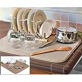 FinnTM 双面 XL 洗碗垫 - 超细纤维吸水性可机洗多用途 45.72 厘米 X 60.96 厘米 棕褐色 X大码