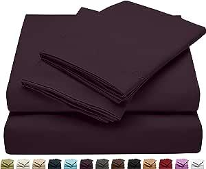 Jessie Porter 床单 - 柔软拉绒超细纤维豪华舒适床单套装,1800 支纱床上用品,大号双人床、普通双人床或单人床 - 维多利亚刺绣设计系列 深紫色 King