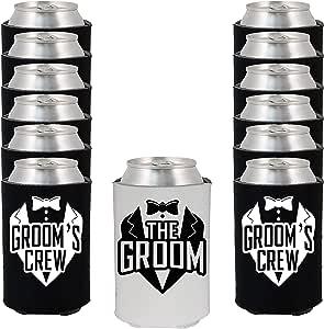 Shop4Ever The Groom and Groom 的船员燕尾服 可以酷炫婚礼饮料冷却器 黑色/白色 GroomsCrewTux_K_Black_12