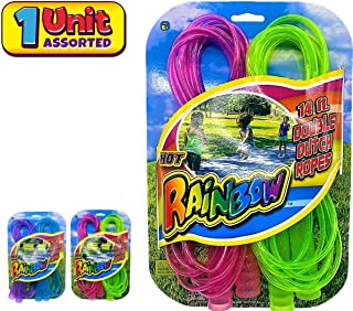 JA-RU 跳绳儿童双荷兰彩虹豪华 14 英尺(1 条装带 2 条跳绳)双跳绳适合男孩、女孩、儿童和成人 超棒的派对玩具儿童户外活动755-1A