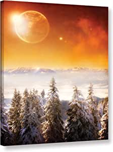 """ArtWall """"Dragos Dumitrascu's Golden Eclipse Ii"""" Gallery Wrapped Canvas Artwork, 12"""" x 18"""""""
