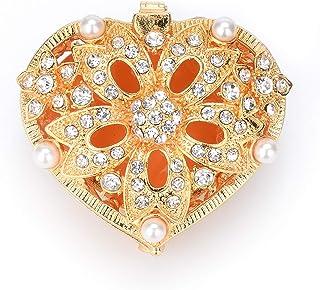 QIFU 经典心形铰链珠宝首饰盒,送给女孩的独特礼物