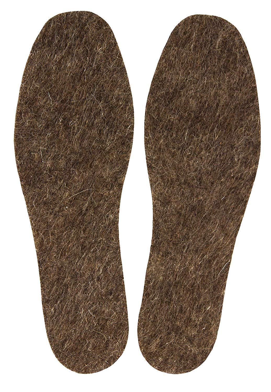 男士温暖毛毡羊毛鞋垫,天然羊毛舒适冬季鞋垫,适合靴子和步行鞋,6 毫米厚,1 双装 12 1.00