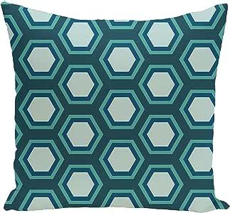 E by design FPGN121BL26BL29 几何装饰地板枕,蓝色