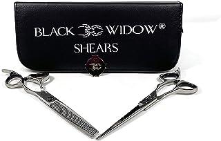 理发剪刀套装,含纤薄剪发专业 - 黑寡妇专业剃毛剪(16.51 厘米)