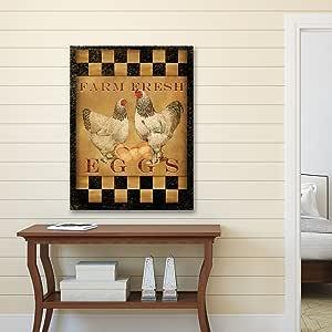 """组合帆布装饰帆布印刷墙壁艺术 - Beth Albert Stretchched & Wrapped 的""""农场新鲜蛋"""" 16x20 NCH6381"""