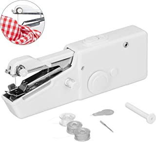 Relaxdays 手工缝纫机,包括配件,紧凑规格,适用于衣服,织物,旅行,高 x 宽:7.5 x 21厘米,白色