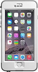 """LifeProof NUUD iPhone 6 Plus ONLY Waterproof Case (5.5"""" Version) - Retail Packaging - AVALANCHE (BRIGHT WHITE/COOL GREY)"""