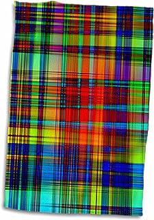 3D Rose 霓虹格纹红蓝色水蓝色和黄色手巾,38.10 cm x 55.88 cm