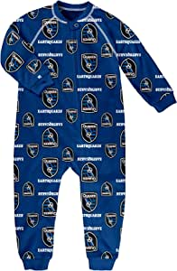 MLS San Jose Earthquakes Boys Sleepwear Zip Up Coverall, Master Blue, Tall (2)