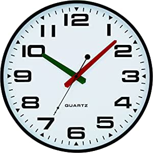 "Tempus 超薄挂钟,绿色和红色撞色指针和静音扫秒机芯 黑色 13 "" TC2388FE"