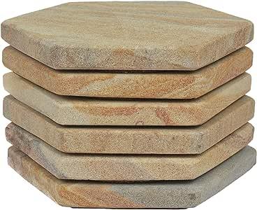 Marbco 吸水砂岩杯垫 4 英寸 (10 厘米) *佳砂岩杯垫 颜色精细,实心构建材料 多种颜色 Hexagon