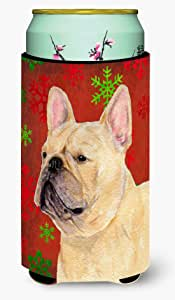French Bulldog Red and Green Snowflakes Holiday Christmas Michelob Ultra Koozies for slim cans SS4692MUK 多色 Tall Boy
