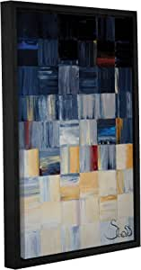 """ArtWall Shiela Gosselin's Grey Squares Gallery Wrapped Floater Framed Canvas, 24 by 36"""""""