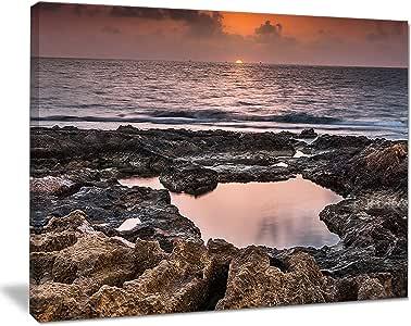 "Design Art Rocky 非洲海岸线日落超大号沙滩画布艺术品 20x12"" PT11022-20-12"
