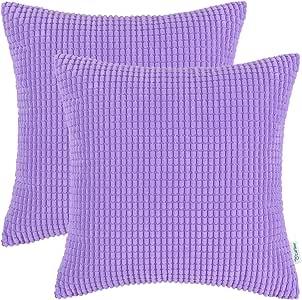 CaliTime 2 件套舒适抱枕套沙发床舒适超柔软灯芯绒玉米双面条纹 紫色(Lavender) 24 X 24 Inches DSC0279R60-Double