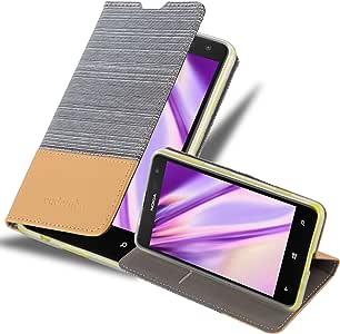 Cadorabo 保护套适用于诺基亚 Lumia 625 书包(设计面料 - FAUXLEATHER) - 带磁扣,支架功能和卡槽 - 钱包手机壳 Etui 盖 PU 皮DE-109702 LIGHT-GREY-BROWN
