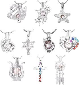 Cherri Wave 10 件白色镀金珠串吊坠 用于珠宝制作/精油香味散光盒吊坠 003 CWBCP00X