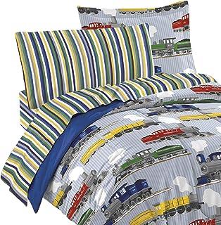 dream FACTORY 2A749000BL 4 件套火车幼儿床上用品套装,蓝色,学步儿童 蓝色 幼儿 2A749000BL