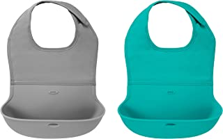 OXO Tot 2件式防水硅胶卷边围兜,配以舒适型织物颈圈,灰色/蓝绿色
