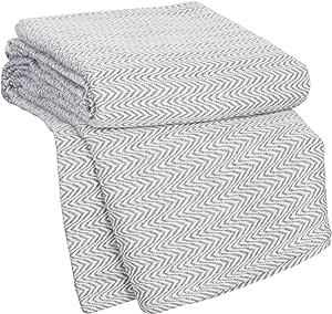 Bedford Home Chevron 100Percent Egyptian Cotton Blanket - Full/Queen - Char