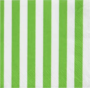 Lime Green Striped Beverage Napkins, 16ct